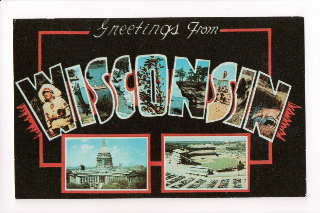 WI, Wisconsin - Greetings from, Large Letter postcard - MT0018