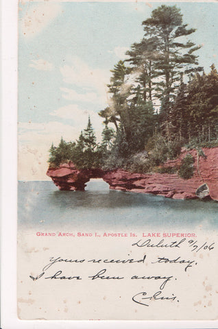 WI, Apostle Is - Grand Arch, Sand I, Lake Superior, @1906 postcard - w03540