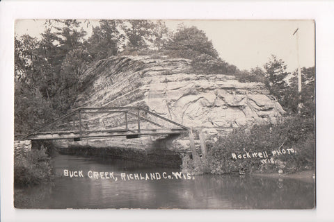 WI, Buck Creek - small steel bridge - Rockwell Photo RPPC - D07012