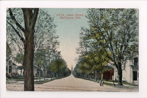 WI, Burlington - Lewis St, @1911 postcard - B05188