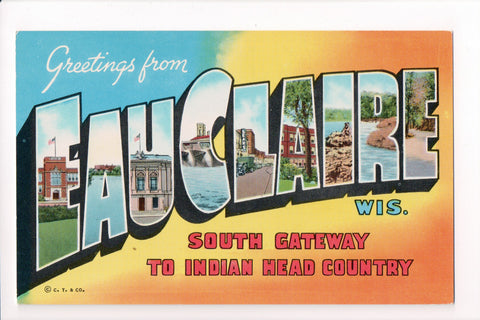 WI, Eau Claire - Greetings from, Large Letter postcard - B08264
