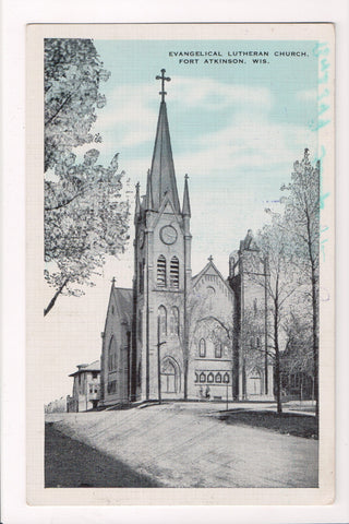 WI, Fort Atkinson - Evangelical Lutheran Church, postcard @1947 - w01214