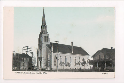 WI, Grand Rapids - Catholic Church, C U Williams postcard - A12499