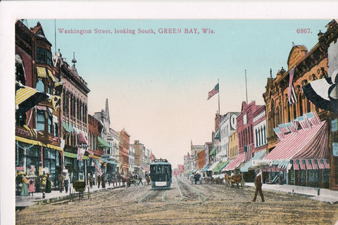 WI, Green Bay - Washington St looking South postcard - C08165