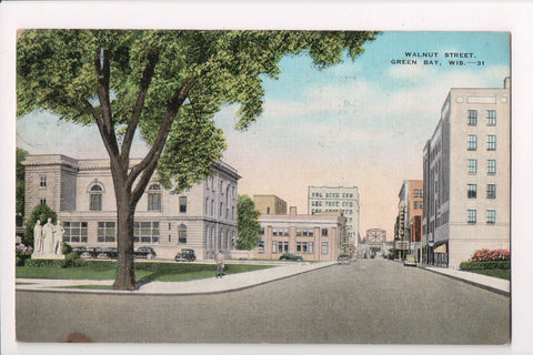 WI, Green Bay - Walnut Street postcard from @1944 - SL2529