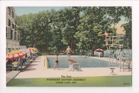 WI, Green Lake - Northern Baptist Assembly, The Pool, kids diving - R00472