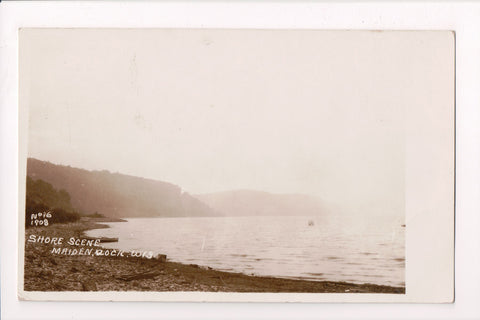 WI, Maiden Rock - Shore Scene, RPPC with No 16 1908 on postcard - G06025