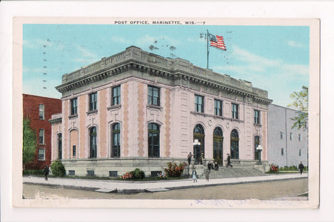 WI, Marinette - Post Office or PO postcard @1946 - w01990