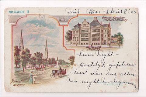 WI, Milwaukee - Grand Ave, Teachers Seminary postcard - CP0204