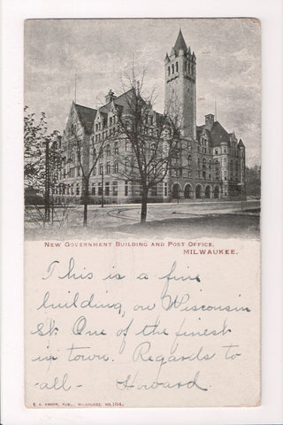 WI, Milwaukee - Government Building (New), Post Office postcard - EP0131