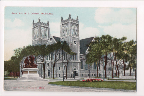 WI, Milwaukee - M E Church, Grand Ave postcard - J03246