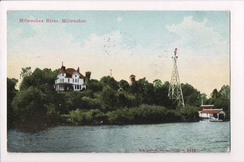 WI, Milwaukee - Milwaukee River, House, Wind Mill postcard - w01650