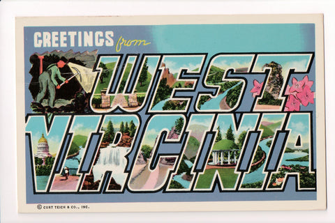 WV, West Virginia - Greetings from, Large Letter postcard - 405238