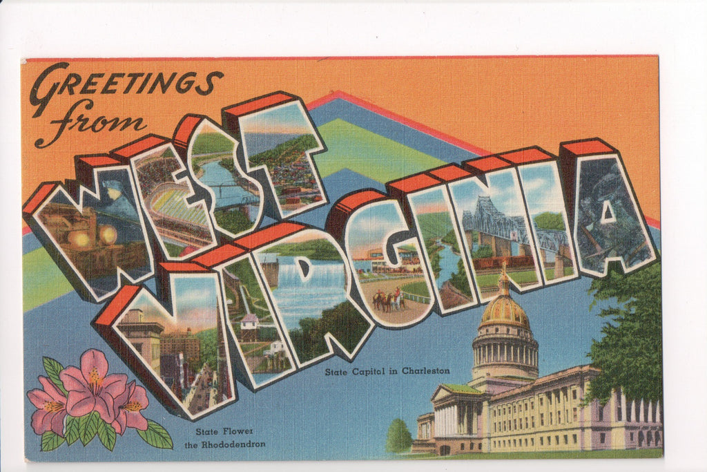 WV, West Virginia - Greetings from, Large Letter postcard - CR0508