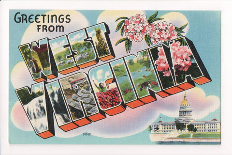 WV, West Virginia - Greetings from, Large Letter postcard - MT0004