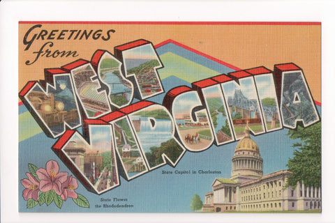WV, West Virginia - Greetings from, Large Letter postcard - MT0005