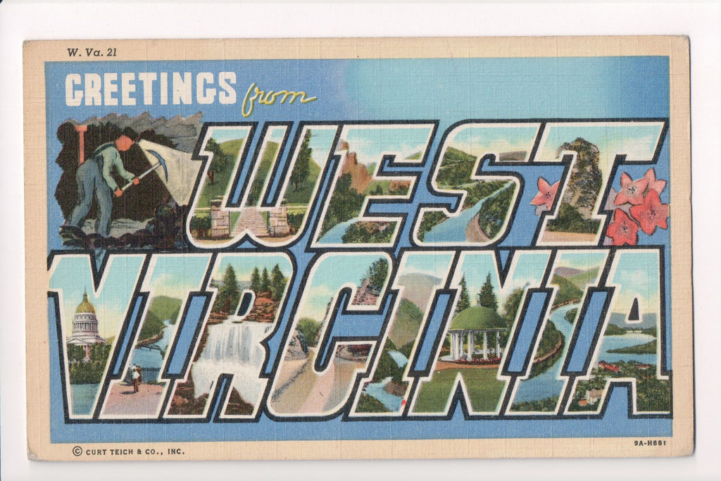WV, West Virginia - Greetings from, Large Letter postcard - MT0006