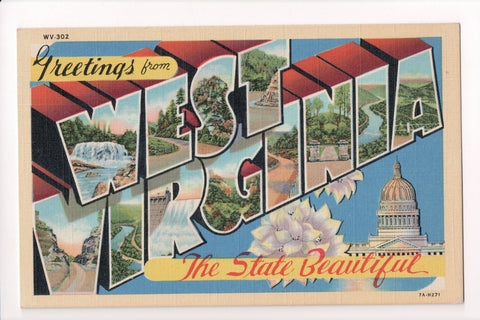 WV, West Virginia - Greetings from, Large Letter postcard - MT0007