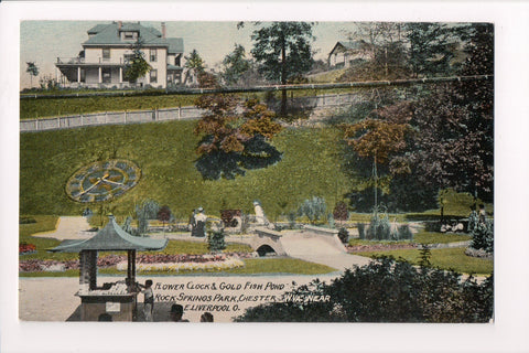WV, Chester - Gold Fish Pond, Flower Clock, vintage postcard - H03193