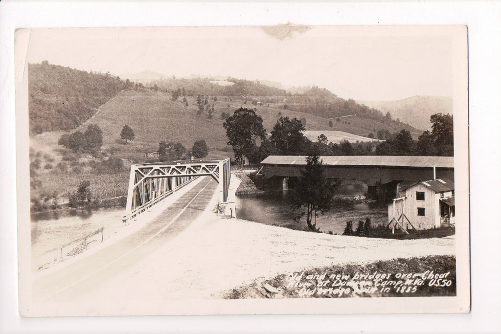 WV, Dawson Camp - New Steel Bridge, old covered bridge - RPPC - B05292