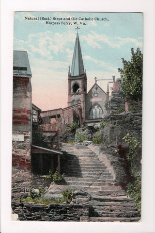 WV, Harpers Ferry - Old Catholic Church, Natural (Rock) Steps @1915 - C08014