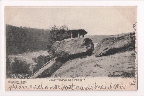 WV, Harpers Ferry - Jefferson Rock closeup, @1907 W E Dittmeyer card - E04064