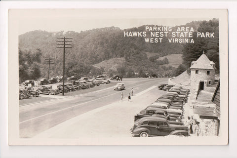WV, Ansted - Parking area Hawks Nest State Park, old cars RPPC - w04566