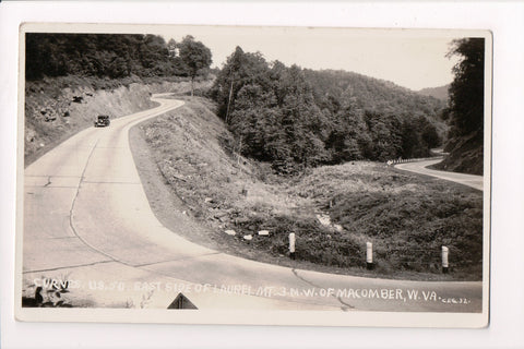 WV, Macomber - US 50,Curves east of Laurel Mt, old car RPPC - B06059
