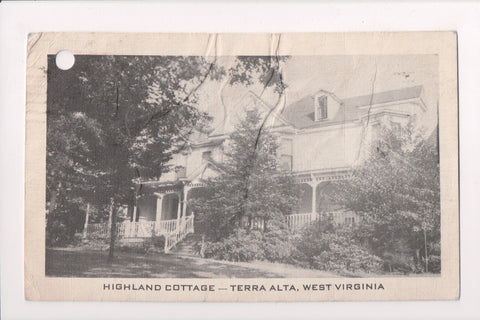 WV, Terra Alta - Highland Cottage - @1951 postcard - z17073 **DAMAGED / AS IS**