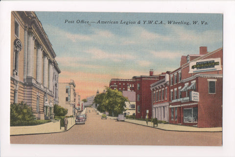 WV, Wheeling - Post Office / American Legion / YWCA postcard - w02802