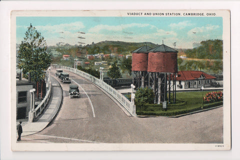 OH, Cambridge - Union Station, Viaduct, bridge - @1928 postcard - C04090