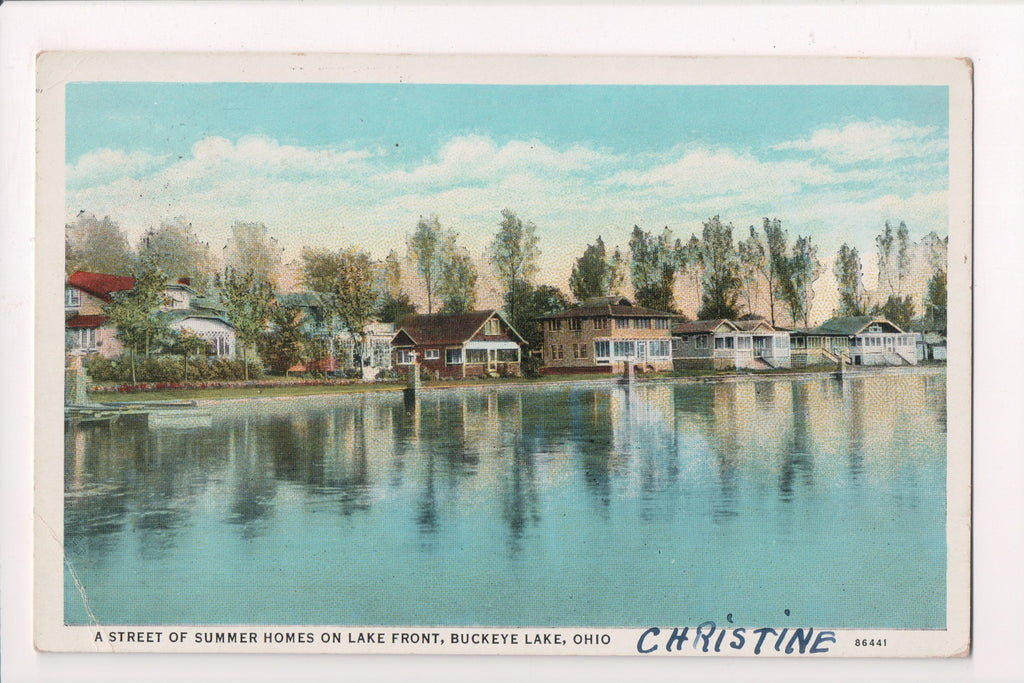 OH, Buckeye Lake - Lake front Houses - @1935 postcard - cr0388
