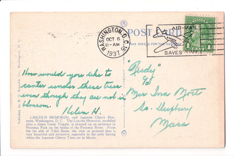 pm SLO - AIR-MAIL SAVES TIME - DC 1937 Slogan or Logo cancel - A17187