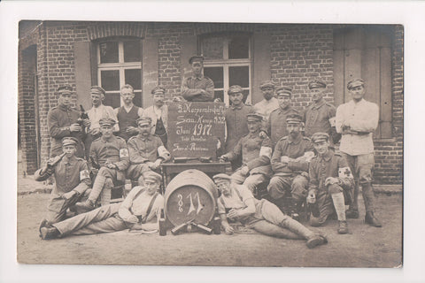 Misc Military - Men in uniform, red cross arm bands, beer @1917 RPPC - S01115