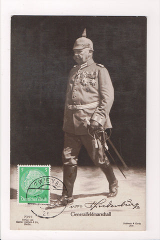 Misc Military - German full uniform, medals, helmet w/ pickel - RPPC - SH7129