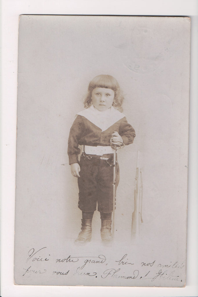 Misc Military - Young child in full army uniform, rifle, sword etc - RPPC - w003