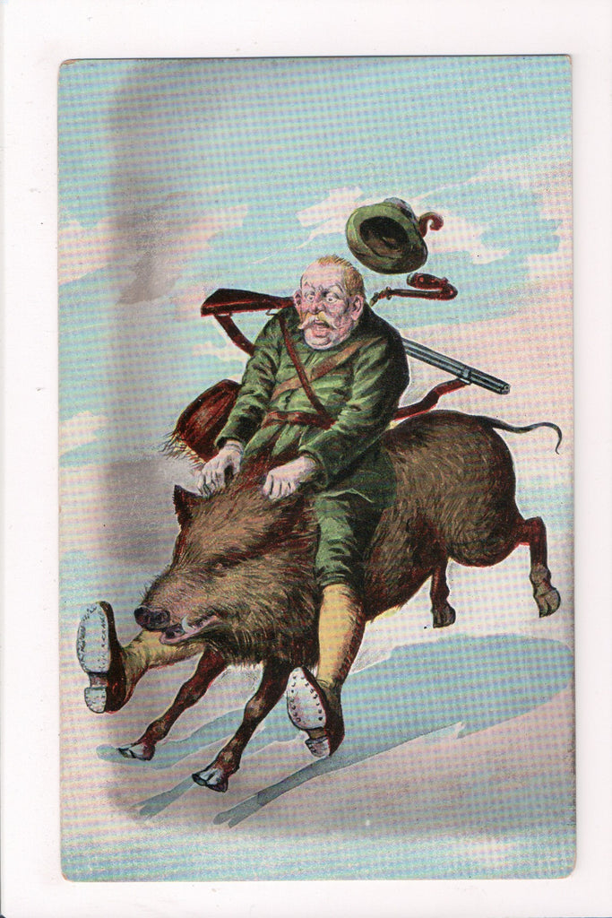 Misc Military - President? riding a wild boar, rifle on shoulder - Caricature -