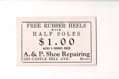 NY, Bronx - A and P Shoe Repairing - small blotter advertisement - w04631