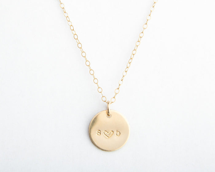 "gold 1/2"" round disc necklace initials"