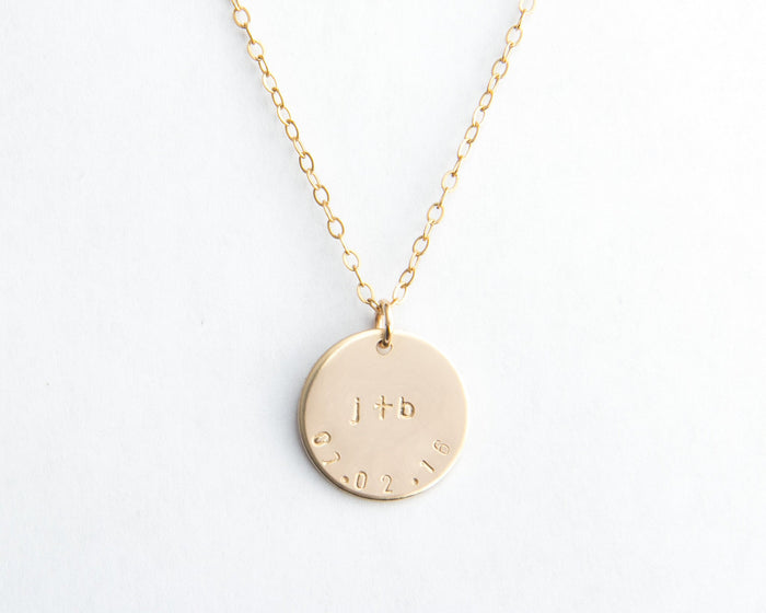 medium gold round disc necklace initials plus date pixley pressed