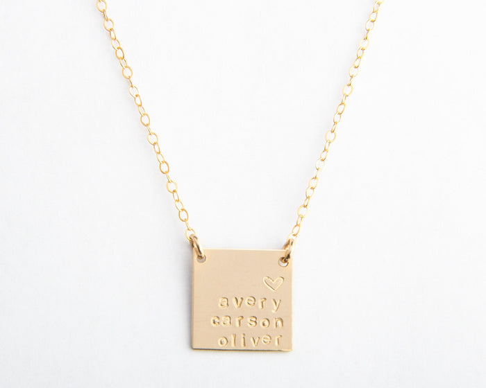 large gold square necklace names pixley pressed
