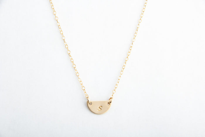 gold half circle initial necklace