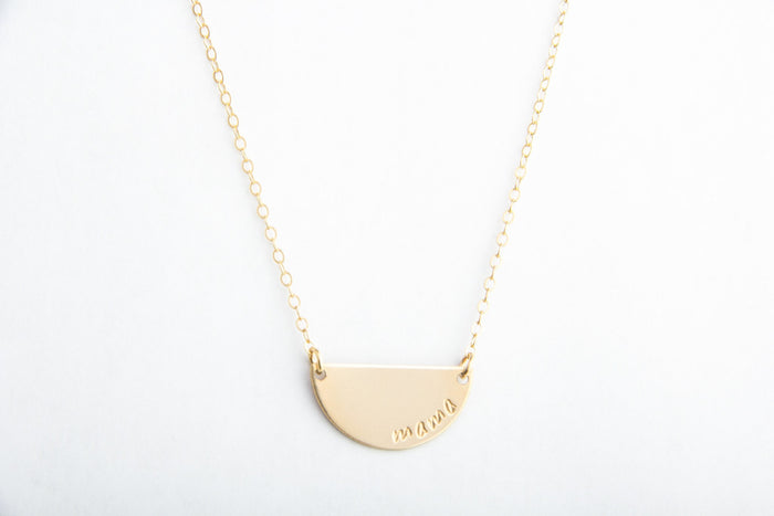 gold half moon mama necklace pixley pressed