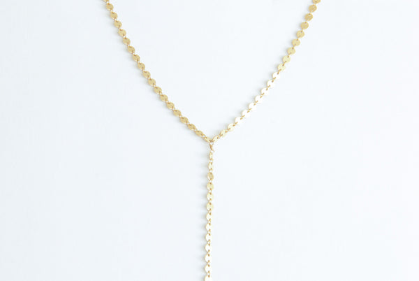 gold filled sequin y necklace pixley pressed