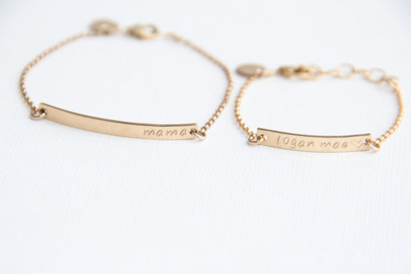 mama baby gold bar bracelet set pixley pressed