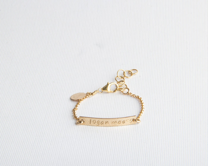 baby bar bracelet gold filled pixley pressed