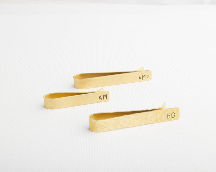 personalized brass tie clips skinny standard size hammered or smooth