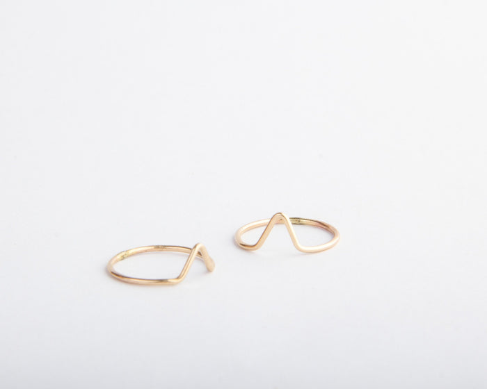 gold filled chevron stacking midi ring