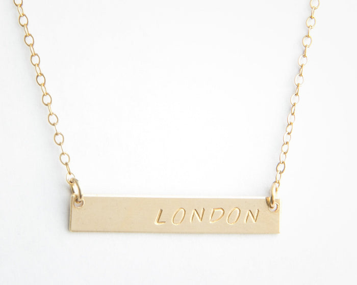 gold bar necklace personalized name