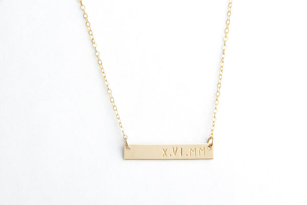 classic bar roman numeral necklace